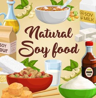 Cibo a base di soia, prodotti a base di soia, tofu di soia e latte