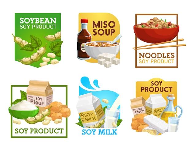 Cibo di soia e prodotti a base di soia icone vettoriali.
