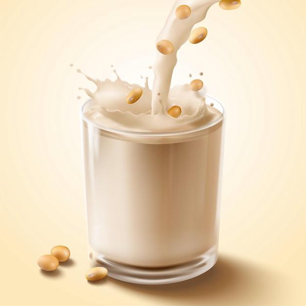 Latte di soia che versa giù nella tazza di vetro nell'illustrazione 3d