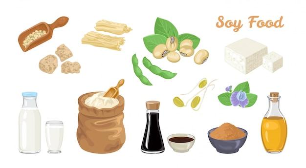 Set di alimenti a base di soia.