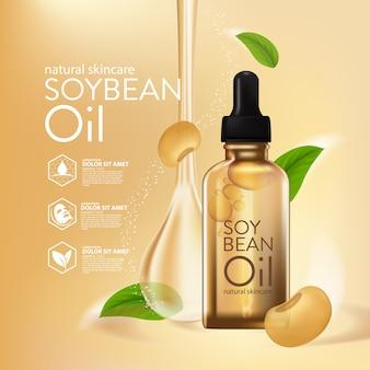 Cosmetico naturale per la cura della pelle del siero all'olio di soia. essenza di umidità