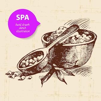Sfondo della stazione termale. illustrazione di schizzo disegnato a mano vintage