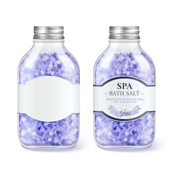 Bottiglia di vetro di sale da bagno spa in illustrazione 3d