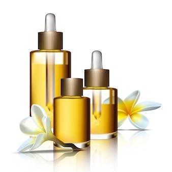 Collezione spa di bottiglie di bellezza di oli aromaterapici e fiori esotici. icona isolata illustrazione flaconi per la cosmetica.