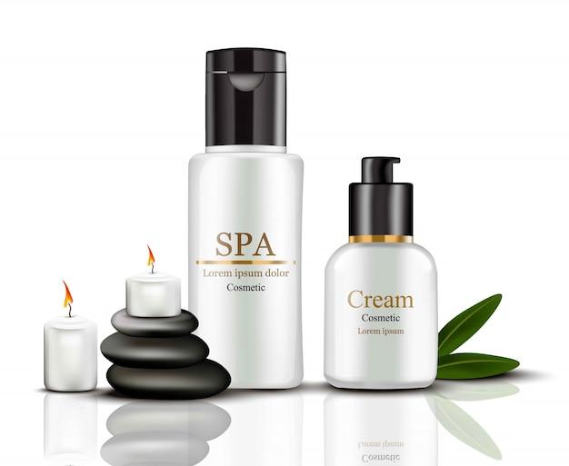 Cosmetici crema spa impostare raccolta realistico mock up. crema idratazione con loghi