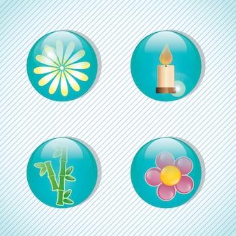 Icone della stazione termale sopra l'illustrazione leggera di vettore del fondo
