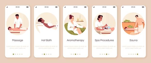 Procedure del resort termale onboarding modello di schermata dell'app mobile. bagno caldo. aromaterapia per il benessere. procedura dettagliata del sito web con i personaggi. smartphone cartoon ux, ui, gui