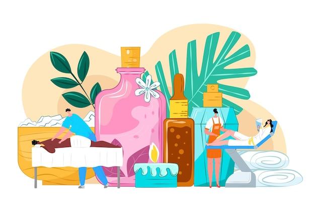 Massaggio di cura del salone della stazione termale per l'illustrazione della donna