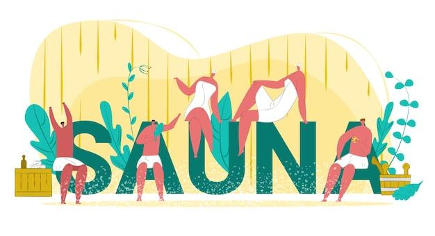 Illustrazione di sauna termale con scritte e donne