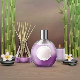 Ambiente termale con bottiglia di olio essenziale aromatico
