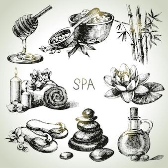 Insieme dell'icona di schizzo della stazione termale. illustrazioni disegnate a mano vintage di bellezza