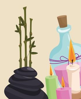 Pietra calda della candela dell'aroma della lozione di terapia della stazione termale