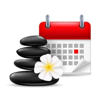 Icona del tempo della stazione termale: pietre nere con fiore e calendario con giorno segnato