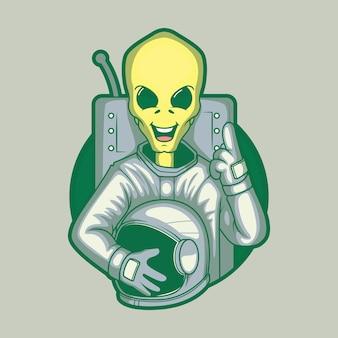 Illustrazione di carattere alieno spaziale. spazio, tecnologia, futuro concetto di design.