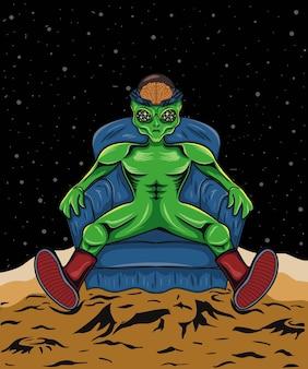 Illustrazione di alieno spaziale seduto sul divano