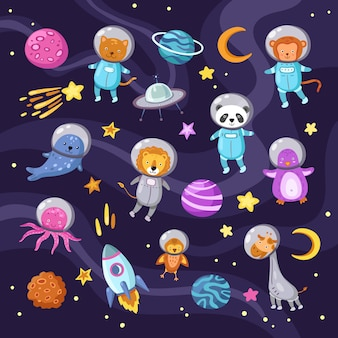 Animali spaziali. bambino sveglio di volo degli astronauti del pinguino del polipo del polipo della scimmia del leone del gatto del panda animale del bambino