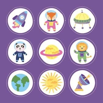 Animali spaziali e set di icone
