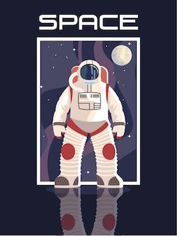 La luna del carattere dell'astronauta dello spazio esplora l'illustrazione di avventura