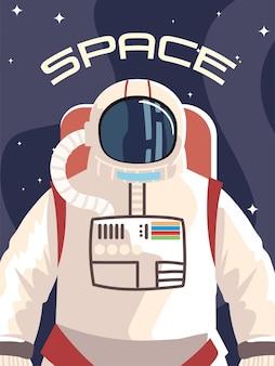 Carattere dell'astronauta spaziale in tuta spaziale alla scoperta dell'illustrazione esterna