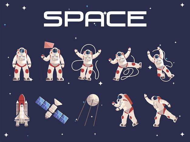 Carattere dell'astronauta spaziale nell'illustrazione dell'astronave del satellite della tuta spaziale