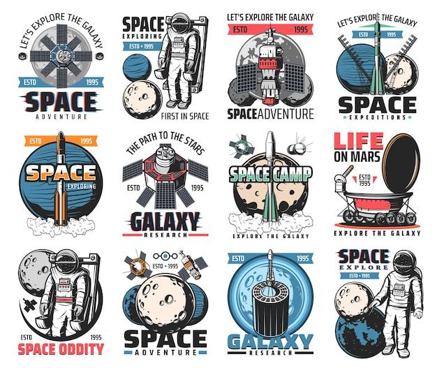 Spazio. astronauta nella galassia, razzo nel cosmo esterno, spedizione in navetta, esplorazione o avventura. satellite nello spazio, rover esplora la superficie del pianeta alieno, set di etichette di missione di colonizzazione