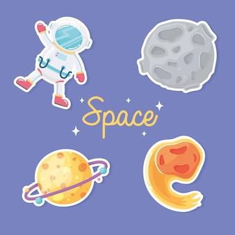 Astronauta spaziale pianeta cometa e galassia luna astronomia in illustrazione stile cartone animato