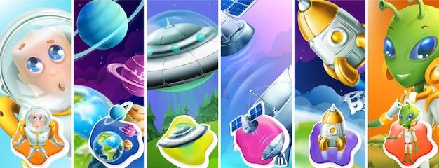 Spazio. astronauta, pianeti, ufo, satellite, razzo, alieno. set 3d
