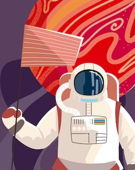 L'astronauta spaziale con il pianeta della bandiera esplora l'illustrazione dell'universo