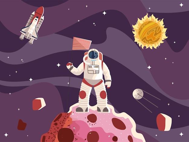 Astronauta spaziale con la superficie della bandiera pianeta astronave sole e luna illustrazione