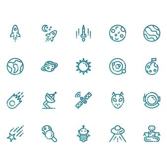 Spazio e icone di astronomia
