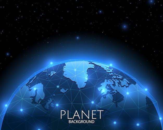 Sfondo dello spazio con la rete sociale globale blu del pianeta