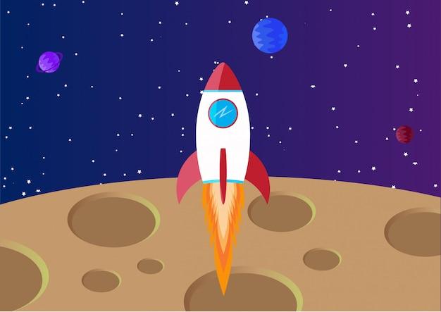 Sfondo dello spazio con la luna e il razzo