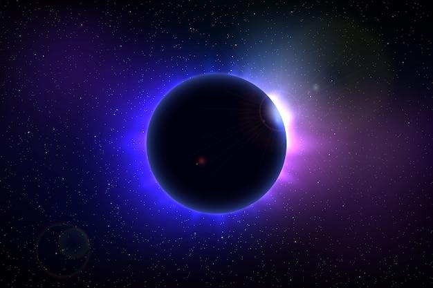 Sfondo spaziale con eclissi solare totale