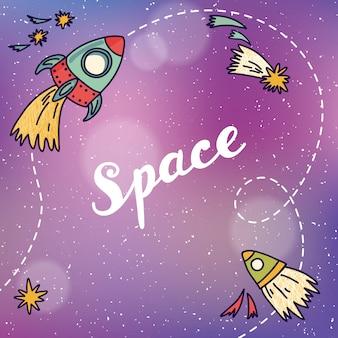 Banner spaziale con pianeti, razzi, astronauta e stelle. sfondo infantile. illustrazione vettoriale disegnato a mano