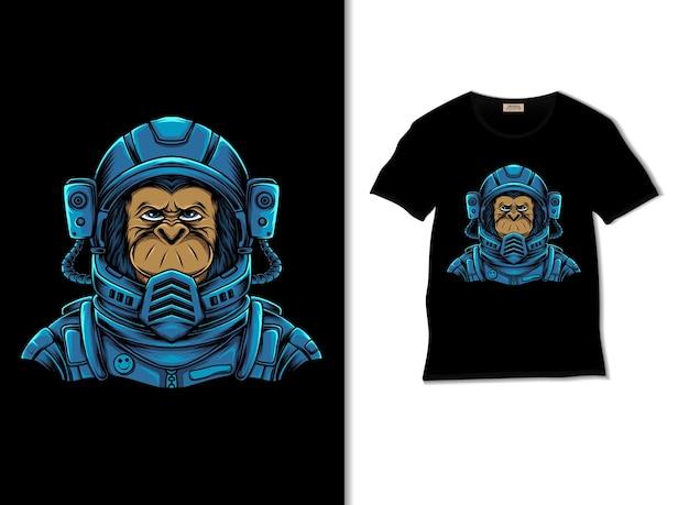 Illustrazione di scimpanzé spaziale con design t-shirt
