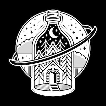 Disegno del tatuaggio bottiglia di creazione dello spazio