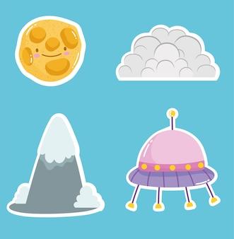 Spazio adesivo carino ufo cloud e collezione di pianeti