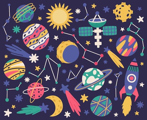 Spazio doodle simboli corpi spaziali astronave pianeti e stelle disegnati a mano illustrazione vettoriale