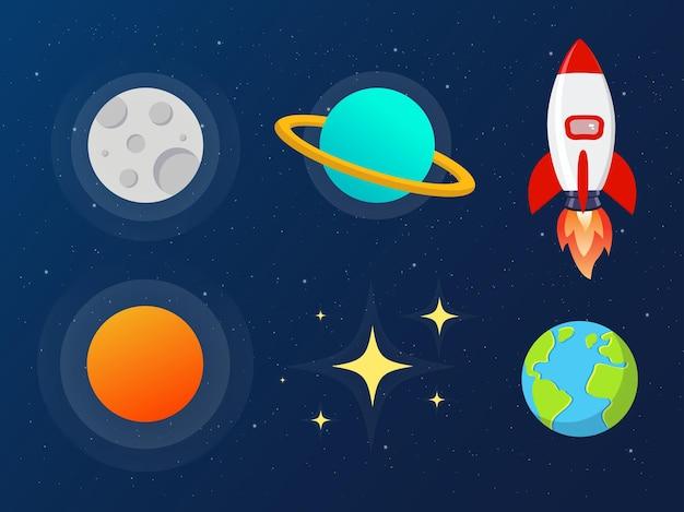 Scarabocchi spaziali con pianeti luna stelle astronave razzo satellite e vettore di asteroidi
