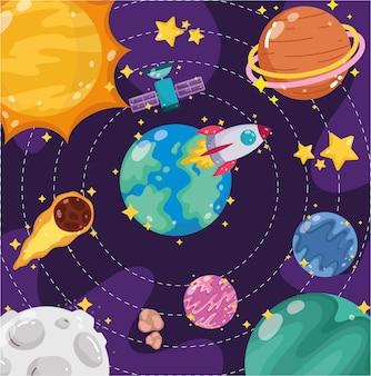 Spazio terra pianeti luna sole satellite astronave e cometa fumetto illustrazione