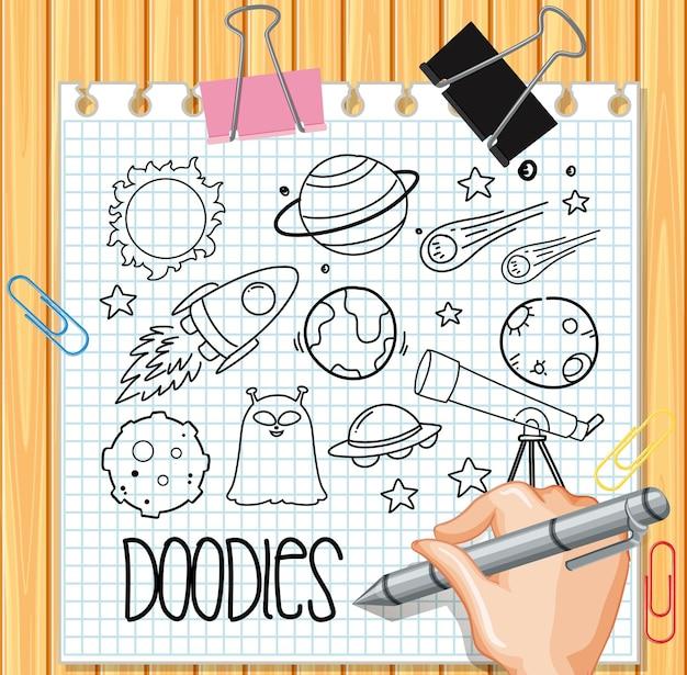 Elemento spaziale in stile doodle o schizzo su carta