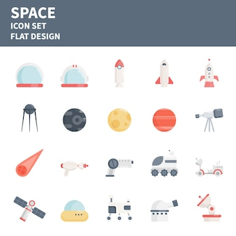 Set di icone piatte elemento spaziale. spazio icone vettoriali.