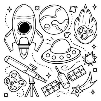 Doodle disegnato a mano di elementi dello spazio