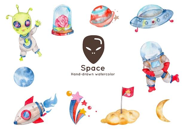 Illustrazione disegnata a mano dell'acquerello degli elementi dello spazio