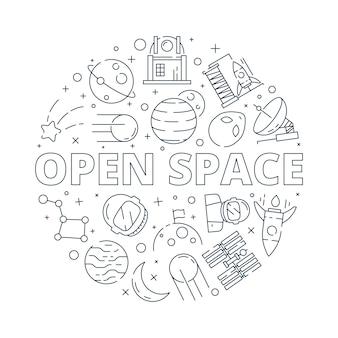Illustrazione rotonda degli elementi dello spazio
