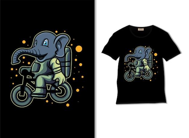 Illustrazione di bmx a cavallo di elefante spaziale con design di t-shirt