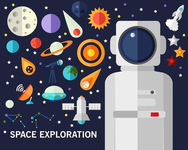 Priorità bassa di concetto di esplorazione spaziale. icone piatte.