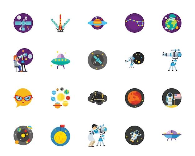 Set di icone di esplorazione spaziale