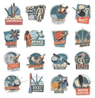 Icone di esplorazione dello spazio.