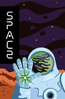 Manifesto di esplorazione dello spazio e colonizzazione del pianeta astronauta mano guantata saluto cosmonauta in
